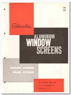 Columbia Mills Inc 1958 Vintage Catalog Window Screens Aluminum Frame