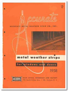 Accurate Metal Weather Strip Company 1958 Vintage Catalog Windows Door