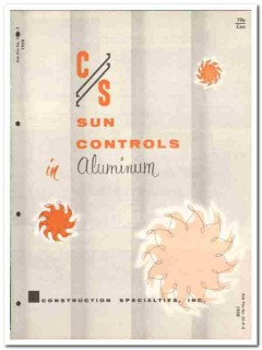 Construction Specialties Inc 1958 Vintage Catalog Sun Control Aluminum