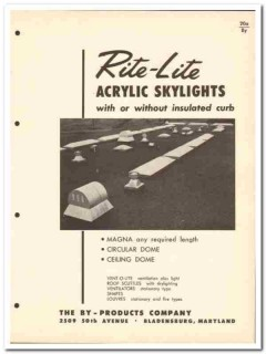 By-Products Company 1958 Vintage Catalog Skylights Acrylic Rite-Lite