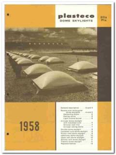 Plasteco Inc 1958 Vintage Catalog Roof Skylights Square Circular Dome