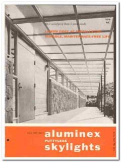 Aluminex Inc 1958 Vintage Catalog Roofing Aluminum Puttyless Skylights