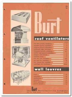 Burt Mfg Company 1958 Vintage Catalog Roof Ventilators Wall Louvers