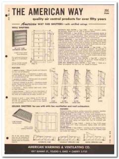 American Warming Ventilating Company 1958 Vintage Catalog Wall Louvers