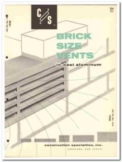 Construction Specialties Inc 1958 Vintage Catalog Brick Vents Aluminum