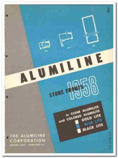 Alumiline Corp 1958 Vintage Catalog Store Fronts Clear Gold Blue Black