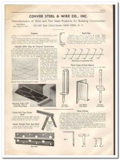 Conver Steel Wire Company 1933 Vintage Catalog Concrete Soffit Clips