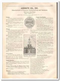 Adensite Company 1933 Vintage Catalog Waterproofing Concrete Hardeners