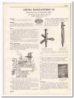 Ankyra Mfg Company 1931 Vintage Catalog Ankor Wall Expansion Bolts