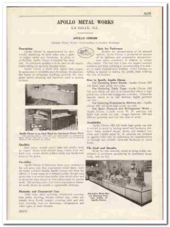 Apollo Metal Works 1931 Vintage Catalog Chrom Corrosion Resistant