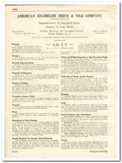 American Enameled Brick Tile Company 1931 Vintage Catalog Am-Em Face