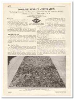 Concrete Surface Corp 1931 Vintage Catalog Con-Tex Bond Appearance