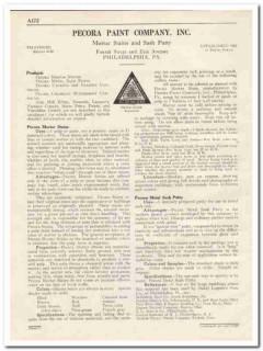 Pecora Paint Company 1931 Vintage Catalog Mortar Stains Sash Putty