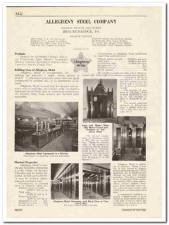 Allegheny Steel Company 1931 Vintage Catalog Metal Stainless Kitchen
