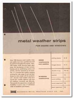 Accurate Metal Weather Strip Company 1962 Vintage Catalog Door Windows
