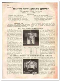 Burt Mfg Company 1933 Vintage Catalog Fan Ventilators Roof Damper