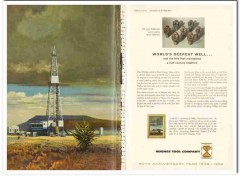 Hughes Tool Company 1959 Vintage Ad Oil Field Drill Bits Deepest Well