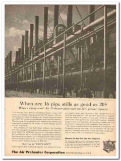 Air Preheater Corp 1959 Vintage Ad Oil Ljungstrom Pipe Stills Capacity