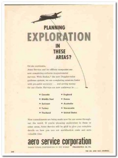 Aero Service Corp 1959 Vintage Ad Survey Planning Exploration Airborne