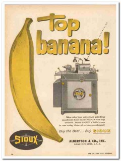 Albertson Company 1959 Vintage Ad Grinding Machine Top Banana Sioux