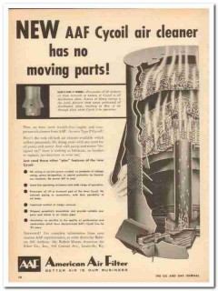 American Air Filter Company 1959 Vintage Ad AAF Cycoil Cleaner Oilbath