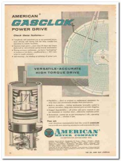 American Meter Company 1959 Vintage Ad Instrument Gasclok Power Drive