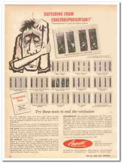 Amercoat Corporation 1959 Vintage Ad Oil Suffering Coaltarepoxication