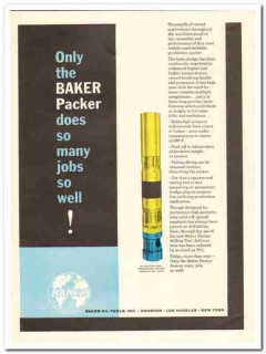 Baker Oil Tools Inc 1959 Vintage Ad Packer Many Jobs Well Drilling