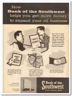 bank of the southwest 1959 more money expand oil business vintage ad