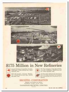 Bechtel Corp 1959 Vintage Ad Pacific Northwest Gas Oil New Refineries