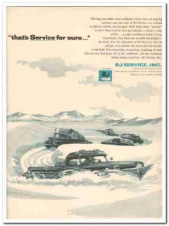 BJ Service Inc 1959 Vintage Ad Oil Well Drilling Snow-Whipped Winter