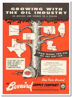 Bovaird Supply Company 1959 Vintage Ad Oil Industry Offices Growing