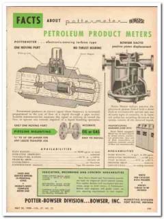 Bowser Inc 1959 Vintage Ad Petroleum Product Meters Potter Pottermeter