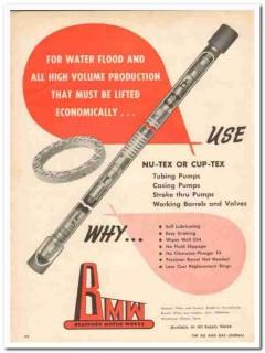 Bradford Motor Works 1959 Vintage Ad Oil Water Flood Cup Nu-Tex Pumps