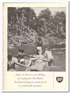 British Petroleum Company 1959 Vintage Ad Oil Papua Route Drilling