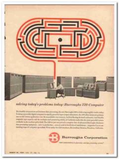 burroughs corp 1959 solving todays problem 220 computer vintage ad