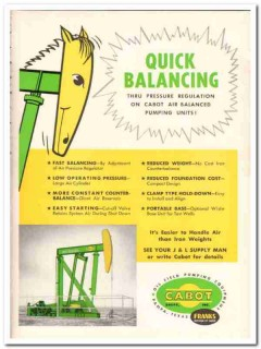 Cabot Shops Inc 1959 Vintage Ad Oil Pumping Franks Quick Balancing