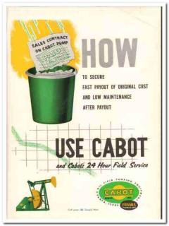 Cabot Shops Inc 1959 Vintage Ad Oil Franks Fast Payout Low Maintenance
