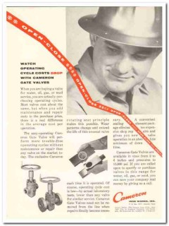 Cameron Iron Works 1959 Vintage Ad Oil Gate Valve Operating Costs Drop