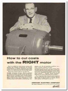 century electric company 1959 how cut costs right motor vintage ad