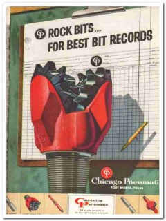 Chicago Pneumatic Tool Company 1959 Vintage Ad Oil Rock Bits Records