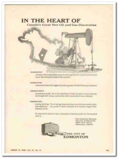 City Of Edmonton 1959 Vintage Ad New Oil Gas Discoveries Heart Canada