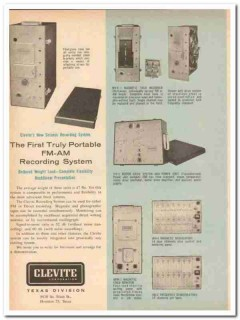 Clevite Corp 1959 Vintage Ad Oil Seismic Portable FM-AM Record System
