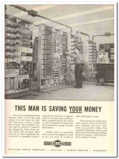 collins radio company 1959 man saving your money microwave vintage ad