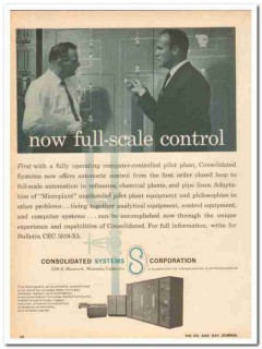 Consolidated Systems Corp 1959 Vintage Ad Oil Now Full-Scale Control