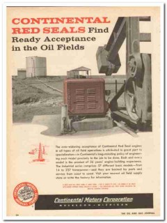 Continental Motors Corp 1959 Vintage Ad Oil Field Ready Acceptance