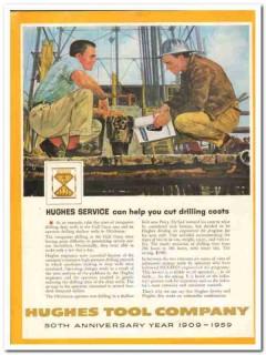 Hughes Tool Company 1959 Vintage Ad Oil Field Service Drill Cost Cut