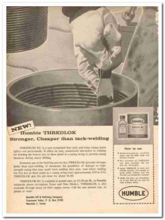 Humble Oil Refining Company 1959 Vintage Ad Thredlok Tack-Welding