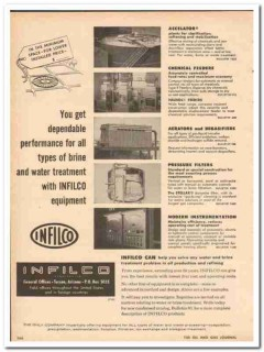 Infilco Inc 1955 Vintage Ad Oil Water Treatment Dependable Performance
