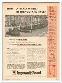 Ingersoll-Rand 1959 Vintage Ad Octane Race Downstream Processing Unit